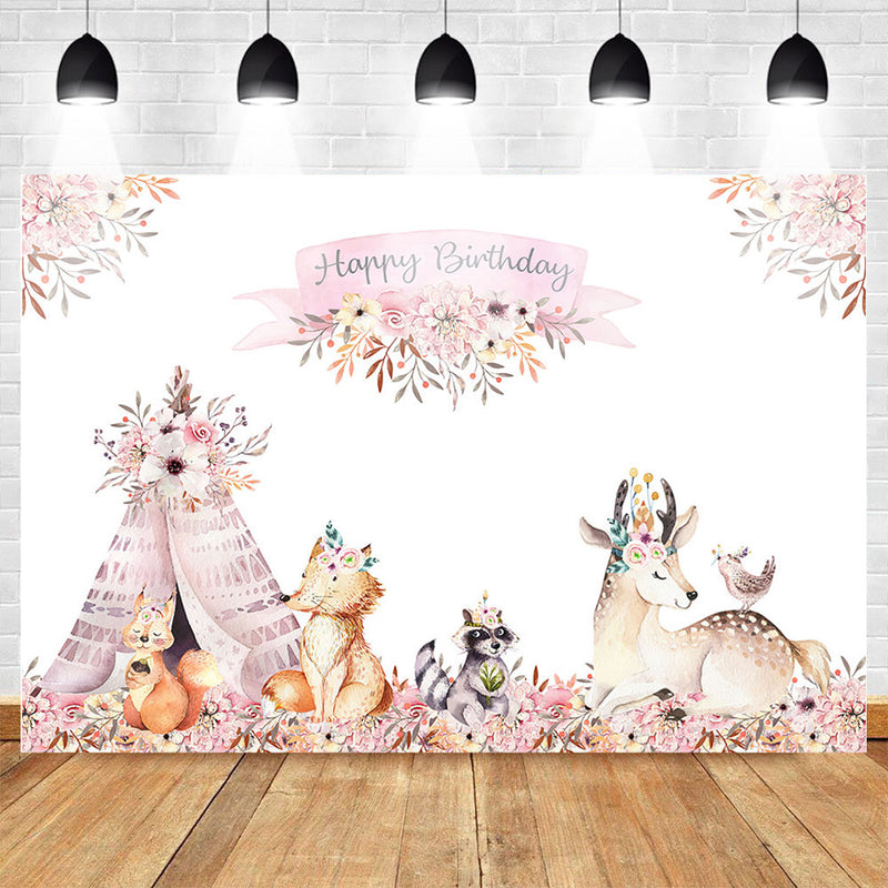 Woodland Birthday Backdrop Boho Teepee Tribal Pink Flowers Decorate Background Animal Birthday Party Backdrops Photography