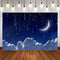 Twinkle Twinkle Little Star Background for Picture Baby Shower Photo Backdrop Royal Blue Moon Clouds Party Banner Background Decor