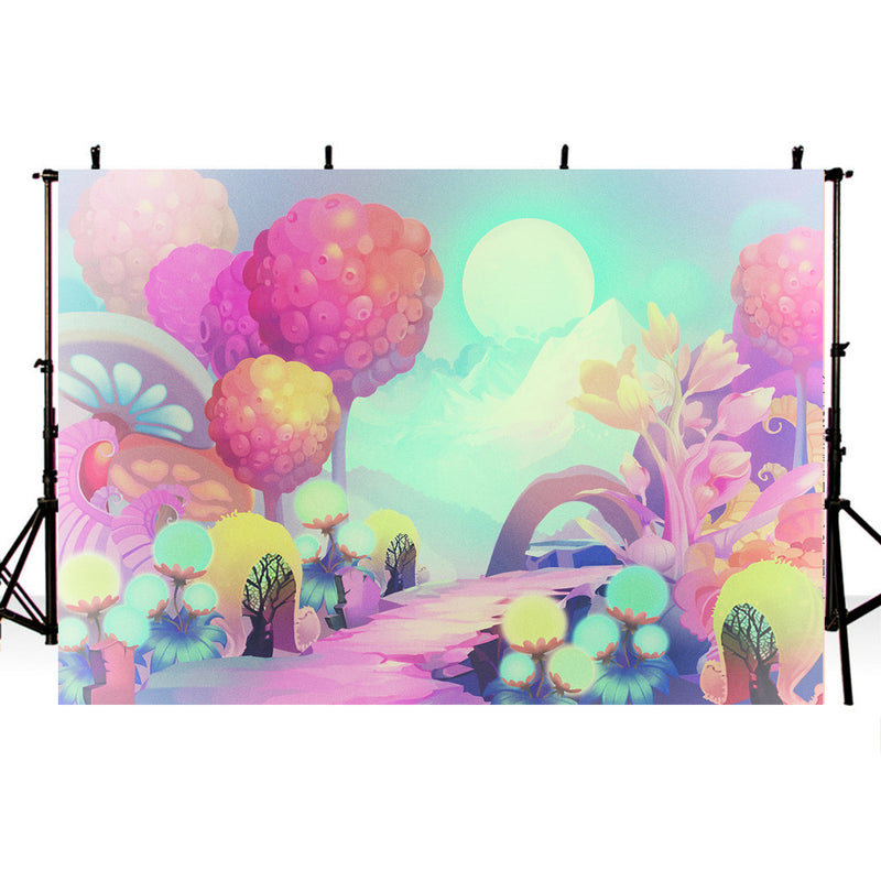 Cartoon Photography Backdrops Kids Party Banner Decoration Background Backdrops Props Pink Vinyl photo Backdrop