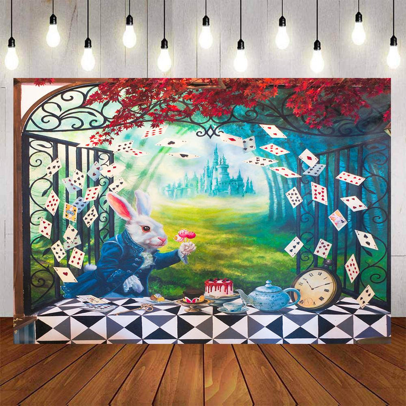 Peter Rabbit Photography Backdrops Magic Playing Cards Poker Kids Party Banner Background Backdrops Props Castle Vinyl photo Backdrop