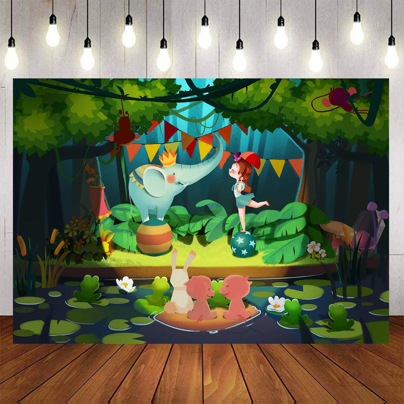 Cartoon Photography Backdrops Green Forest Kids Birthday Party Banner Background Backdrops Props Animal Zoo Vinyl photo Backdrop