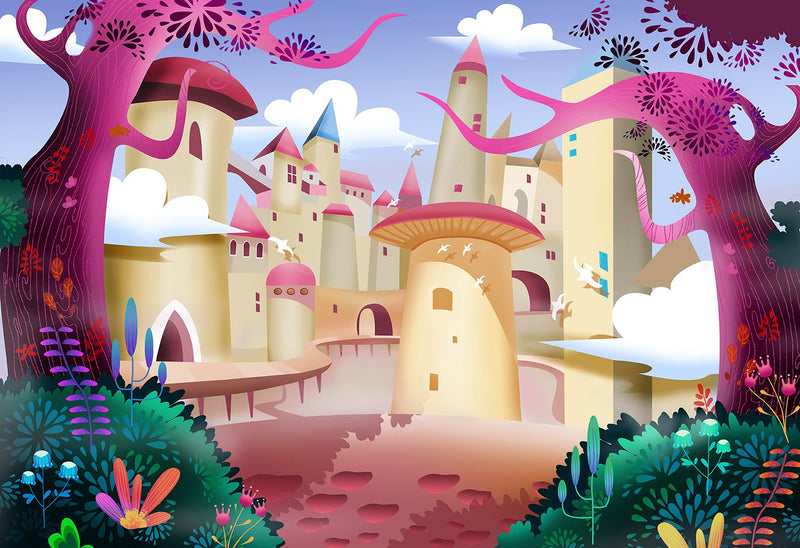 Cartoon Castle Photography Backdrops Kids Party Banner Decoration Background Backdrops Girls Vinyl photo Backdrop