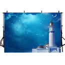 Night Moon Photography Backdrops Twinkle Stars Light Blue Sky Background Backdrops Baby Vinyl photo Backdrop