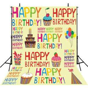 Photo Booth Backdrop Birthday Party Happy Balloons Backdrops For Girls Vinyl Background