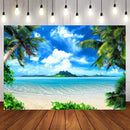 Tropical Hawaii Beach Photography Backdrops Rainforest Photography Background Ocean Backdrops for Picture