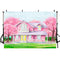 Spring Scenes Photography Backdrops Pink House Trees Background Holiday Scenery Backdrops Photo Studio