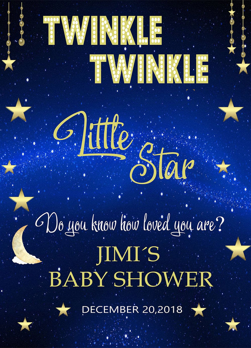 Customize Baby Shower Photography Backdrops Twinkle Twinkle Litter Star Dream Blue Newborn Photo Backdrop For Photo Studio