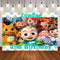 Happy Birthday Cocomelon Family Party Custom Photo Studio Background Kids Party Backdrop Vinyl Photo Backdrop
