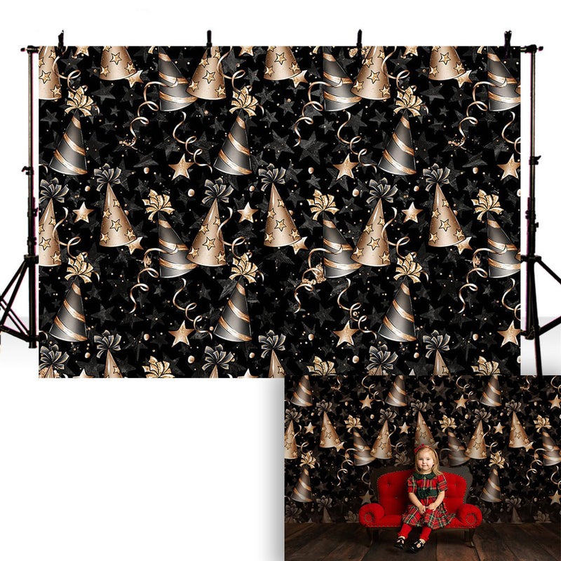 kids Birthday Party Decoration Photography Background Black Stage Backdrop Birthday hat Cake Smash Photo Booth Background Prop