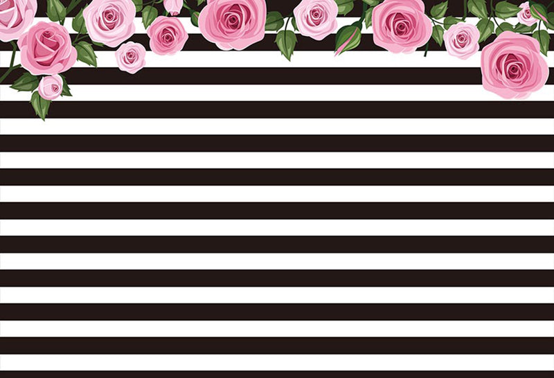 tea party photo backdrop black and white streaks backdrops for photography flowers photo backgrounds stripes wedding photo booth props fringe tea party backdrop for birthday party
