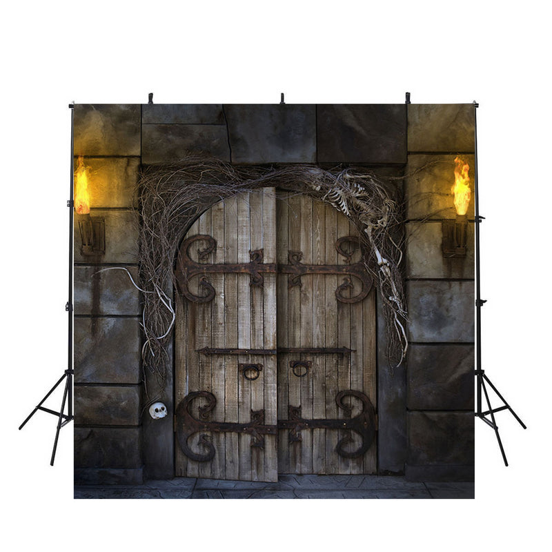 halloween photo booth backdrop wood door backdrop for picture 10x10 photography background halloween theme photo props party
