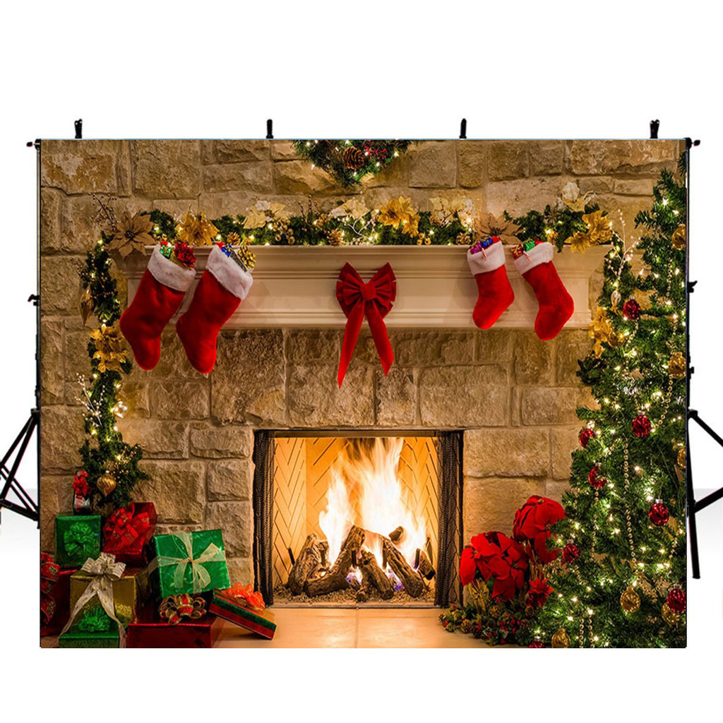 merry xmas eve photo backdrop fireplace photography background merry c dreamybackdrop dreamybackdrop