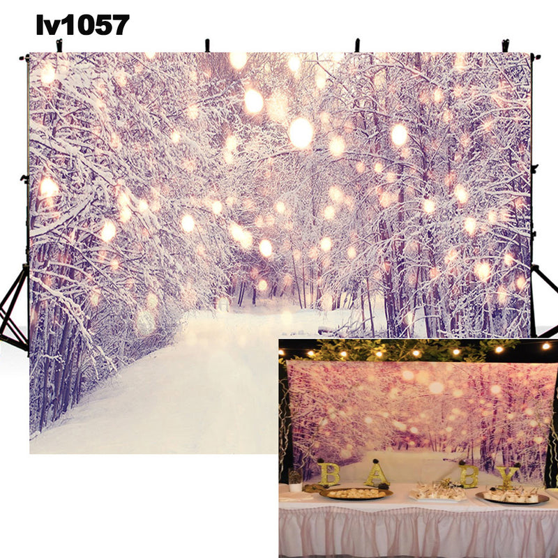 winter snow photo backdrop Christmas photography background Bokeh snowflake Merry Xmas photo booth props home party decor Vinyl Fabric backdrops