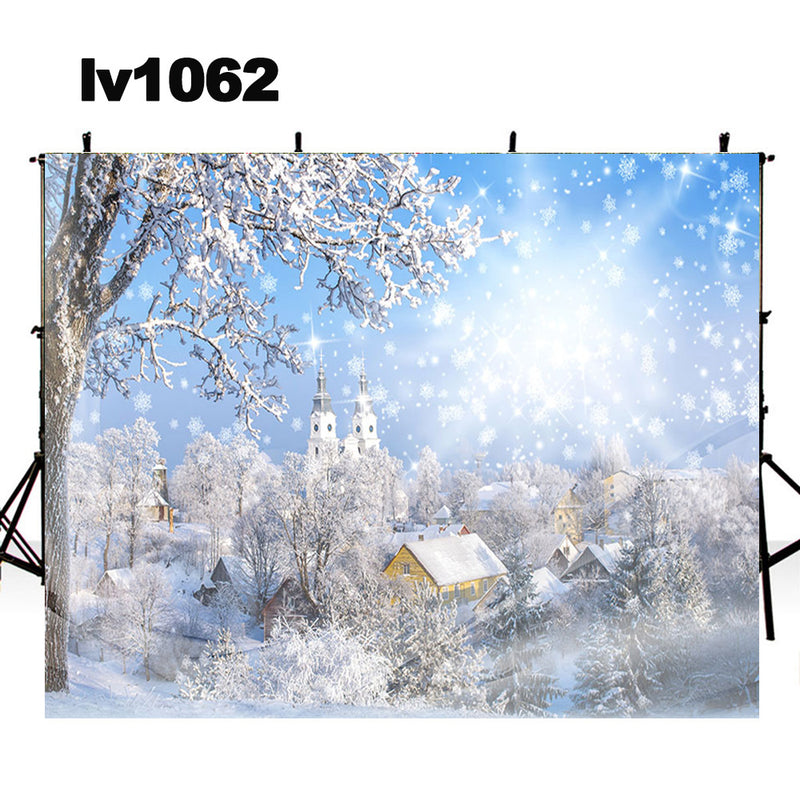 winter snow photo backdrop Christmas photography background cottage snowflake under the sun photo booth props home party decor Vinyl Fabric backdrops