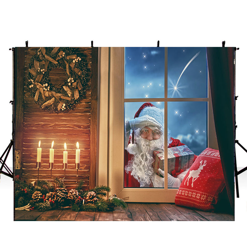 Merry Xmas Eve photo backdrop window photography background Merry Christmas Santa gifts photo booth props wall vinyl backdrops kids