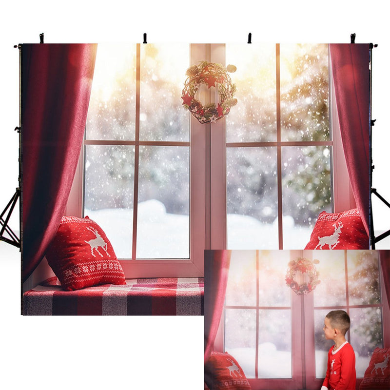 Merry Xmas Eve photo backdrop window photography background Merry Christmas gifts photo booth props wall vinyl backdrops kids