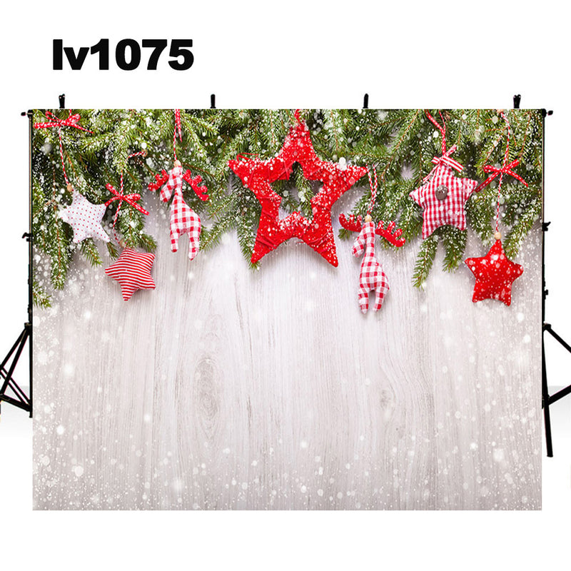 wood photo props winter snow photo backdrop merry Christmas photography background snowflake photo booth props home party decor Vinyl Fabric backdrops