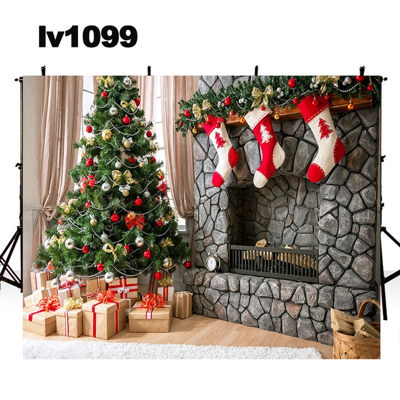 Christmas tree photo props Xmas socks fireplace photo backdrop merry Christmas photography background photo booth props home party decor Vinyl Fabric backdrops