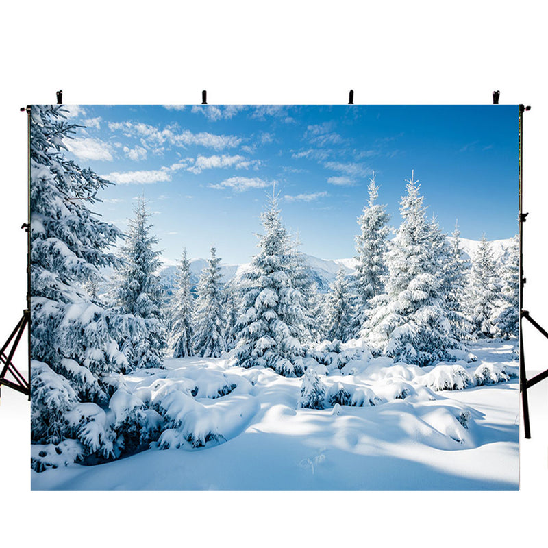 Snowscape Backdrop Winter Tree Snow Scenes Photography Background For Photo Studio Vinyl Photo Backdrops