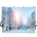 forest snow landscape photo backdrop winter snow road trees photography background interior decoration photo booth props Merry Xmas backdrops