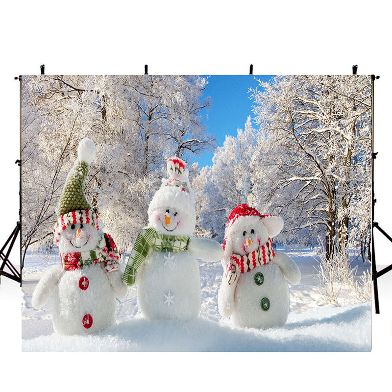 snowman photo backdrop for kids winter snow forest photography background interior decoration photo booth props Merry Xmas backdrops