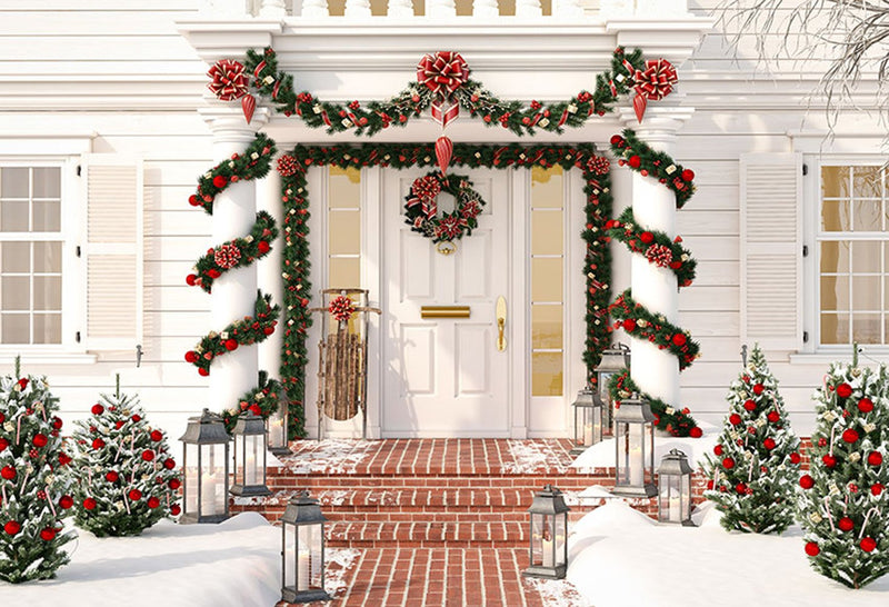 house door photo backdrop winter snow photography background Merry Christmas photo booth props vinyl backdrops kids
