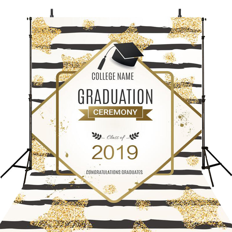 custom school photo booth props black and golden 2019 graduation photo backdrop Bachelor cap graduation photo backdrop for high school vinyl background black n white stripes photo props for teenages