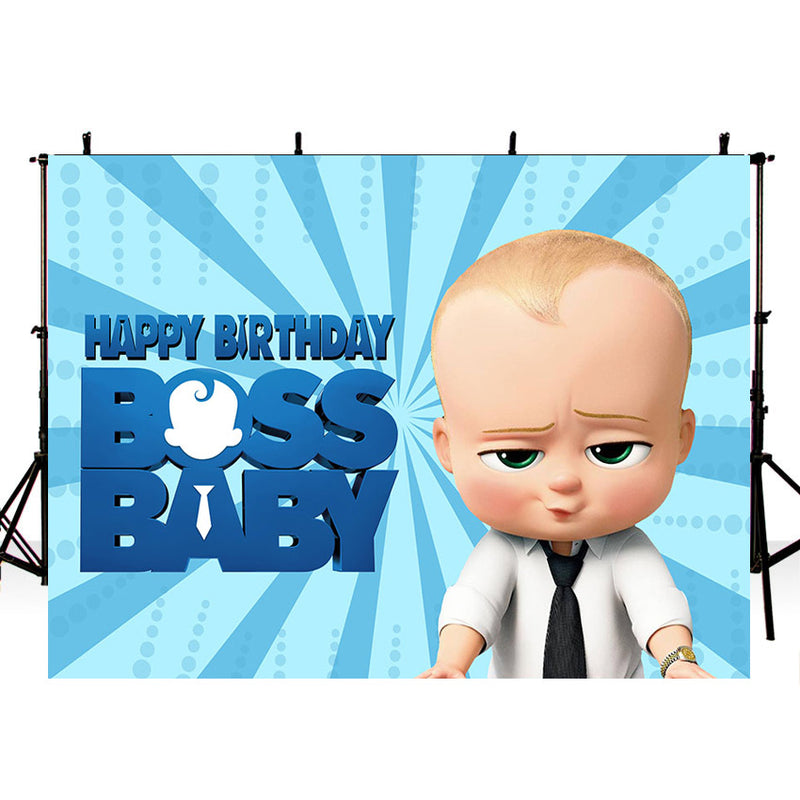 Our Little Man Birthday Party Backdrops Boss Baby Photographic Background Child Customize Photo Banner Vinyl Photocall