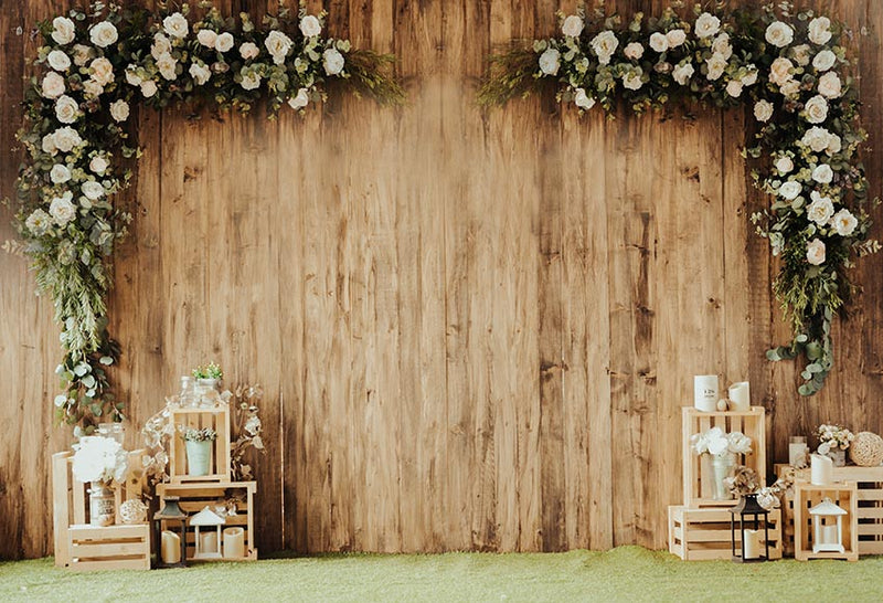 Wood Floor Photography Background Flowers Wedding Bridal Decor Backdrop Wooden Party Banner Backdrop Photo Studio