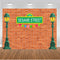 Sesame Street Photography Background Street Light Dark Red Bricks Wall Birthday Party Photo Studio Backdrop Kids Birthday Banner Photo Prop