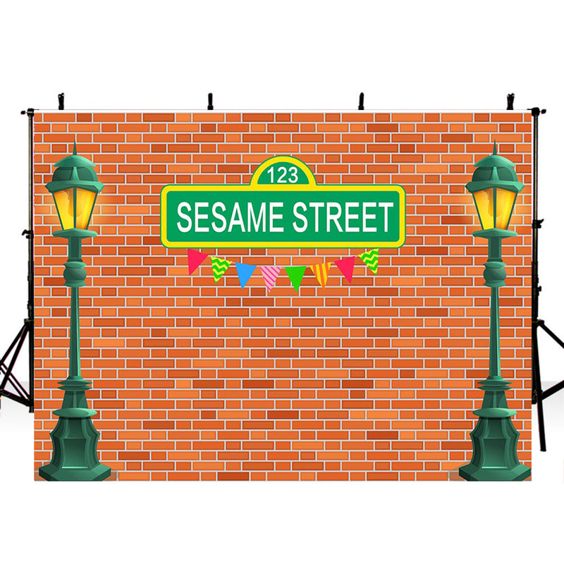 Customized Sesame Street Photography Background Street Light Dark Red Bricks Wall Birthday Party Photo Studio Backdrop Kids Birthday Banner Photo Prop