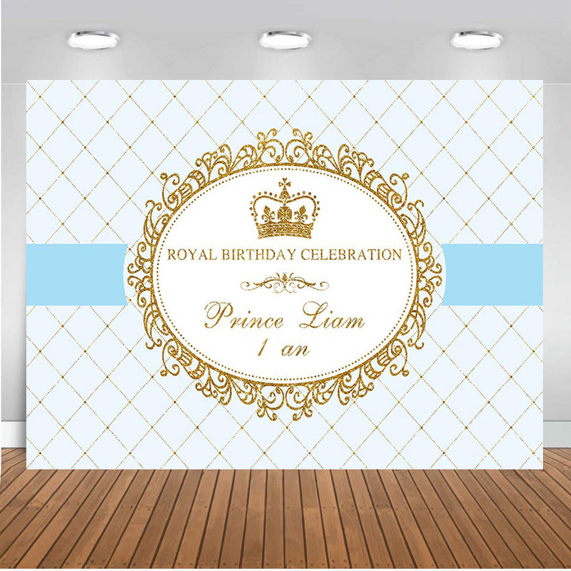 Customized Royal Birthday Celebration Photography Background Prince Boys Birthday Party Photo Studio Backdrop Kids Birthday Banner Photo Prop