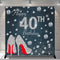 Custom Women 40th Birthday Photography Background Sliver Shine Heels Birthday Banner Photo Studio Vinyl Photo Prop