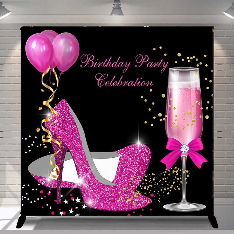 Custom Women 30th 40th 50th Birthday Photography Background Pink Shine Heels Birthday Champagne Balloons Banner Photo Studio Vinyl Photo Prop