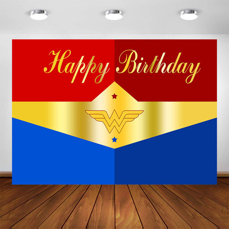 Superhero Themed Backdrop Photography Party 7x5ft Wonder Woman Birthday Background for Picture Super Girls Decorations Kids Home Decor Photo Shoot Banner Prop Favors Background