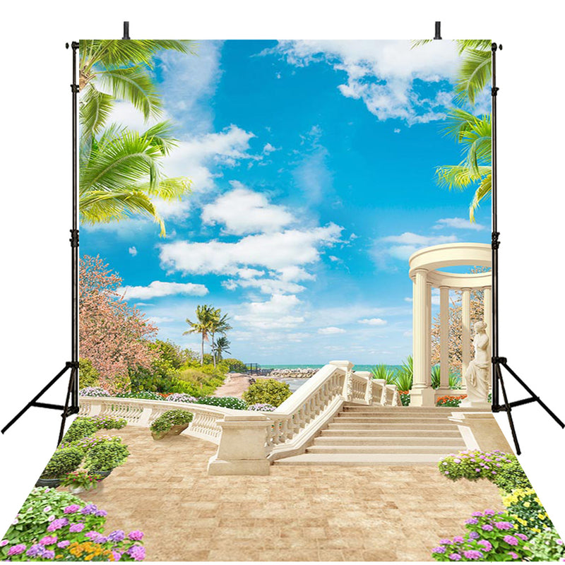 sea beach photo backdrop summer 8x12 tropical backdrop for picture photography background photo backdrop beach scene 6x9 backdrop Hawaii theme photo booth props luau