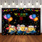 Yellow Cartoon Animation Minions Photo Backdrops for Kids Happy Birthday Party Photography Background Studio Booth Props Banner Cake Table Decoration Supplies