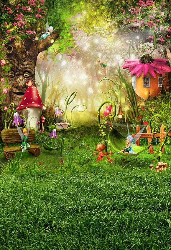 Mushroom Photography Backdrops Alice in Wonderland Backdrop Jungle Safari Party Girls Photography Background For Photo Studio