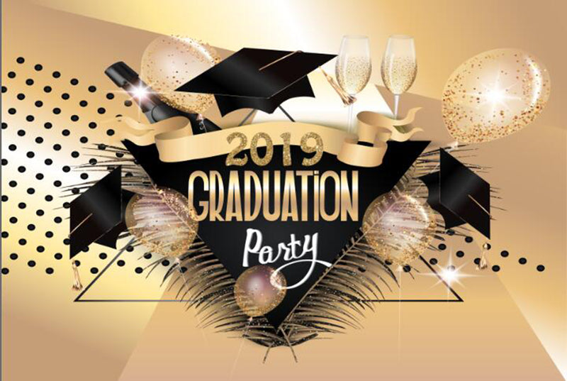 custom photo booth props rose gold 2019 graduation photo backdrop black Bachelor cap graduation photo backdrop for decorations vinyl background elementary graduation photo props for teenages