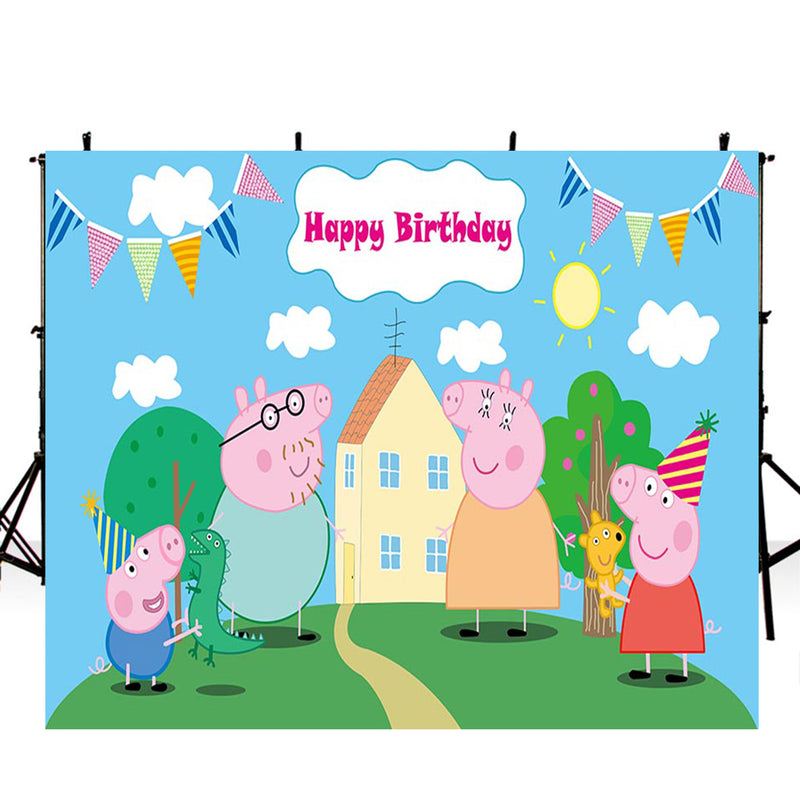 Peppa Pig backdrop-photo backdrops Peppa Pig-backdrop for pictures movie theme-photo booth props cartoon-photo backdrop happy birthday-Peppa Pig background