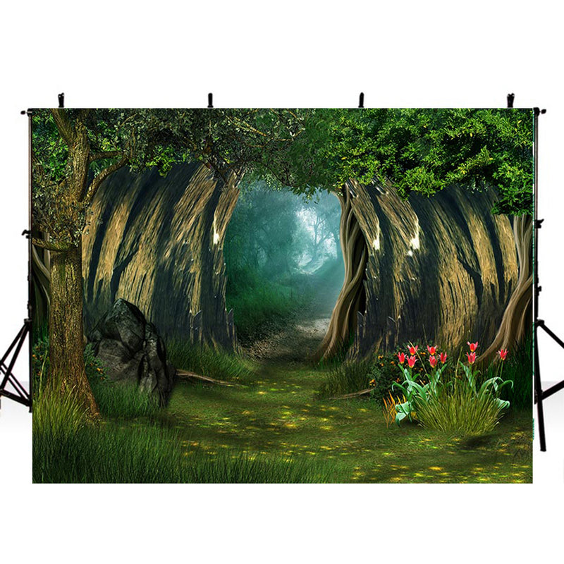 wild photo backdrop enchanted forest 8ft photo booth props nature scenery photography background travel vinyl backdrops for picture summer trees background scenes