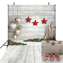 Christmas photo backdrop wood floor white photography background stars new year photo booth props Merry Xmas backdrops bells