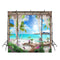 large beach photo backdrop hawaiian luau photo booth props beach scene photo backdrop holiday background wedding party photography backdrops