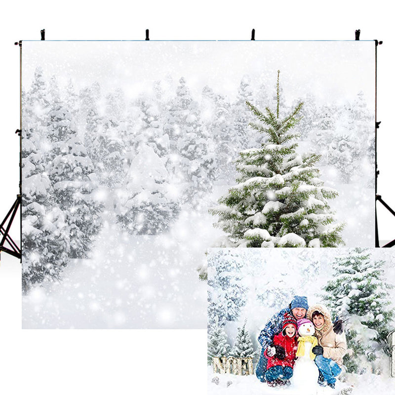 Winter Snow Tree Backdrop White Christmas Photography Backdrop Snow Scenes Photo Background Studio Background for Picture