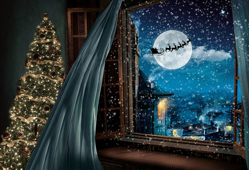 halloween party photo booth backdrop night moon 8x10 backdrop for picture christmas photography background window photo props snowflake