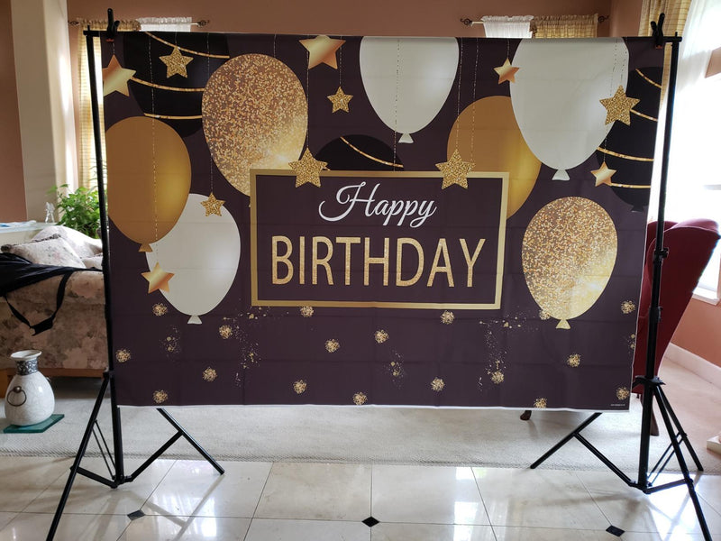 Women Birthday Party Backdrop Black and Gold Balloons Photography Background Decorations for Mens Sparkling Stars Golden Glitter Party Banner Photo Booth Props
