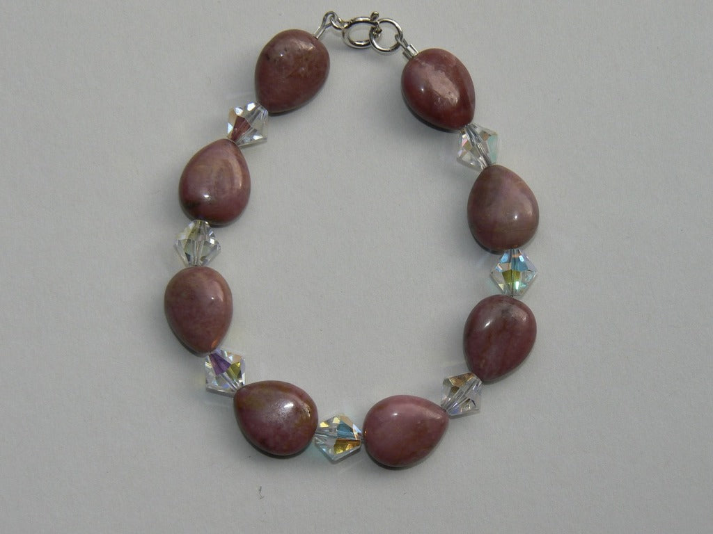 Rhodonite and Swarovski Bracelet - SOLD