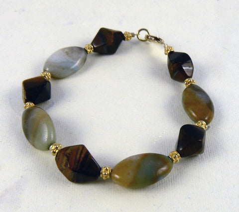 Tiger Eye and Ammonite Bracelet - SOLD