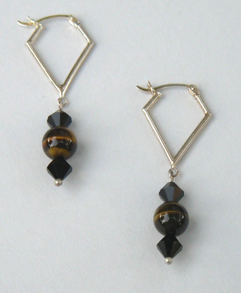 Tiger Eye Kite Hoop Earrings - SOLD