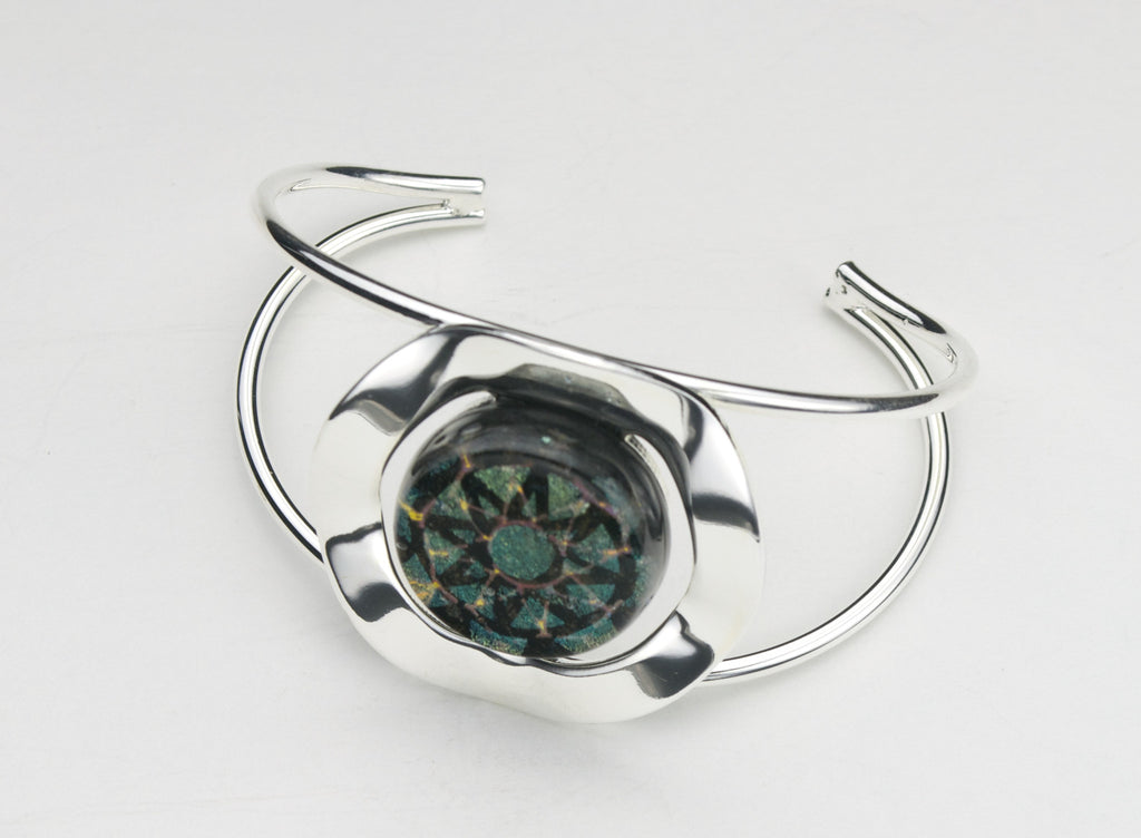 Fused Glass - Silver Plate Bangle Bracelet - SOLD